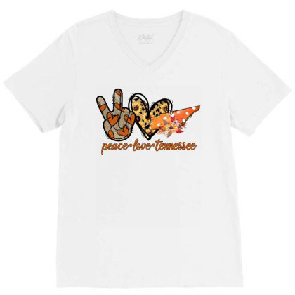 Peace Love Pumpkin Tennessee V-neck Tee Designed By Badaudesign