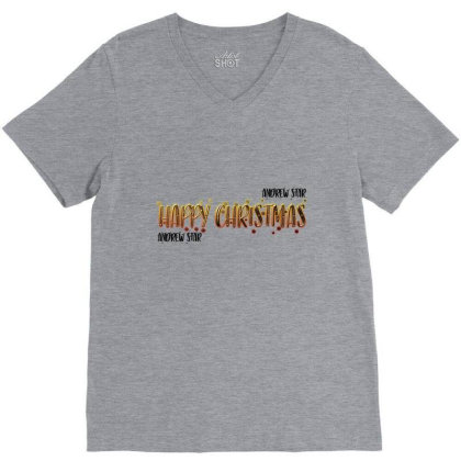 Happy Christmas Merch V-neck Tee Designed By Andrewstar