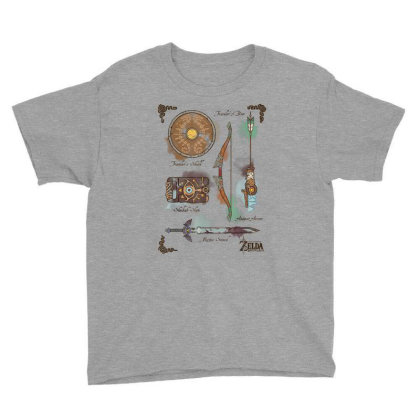 Zelda Breath Of The Wild Link Inventory Graphic Youth Tee Designed By Conco335@gmail.com