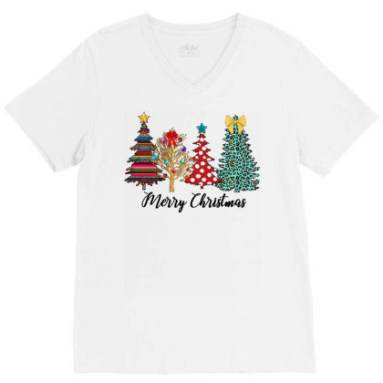 Christmas Tree V-neck Tee Designed By Badaudesign