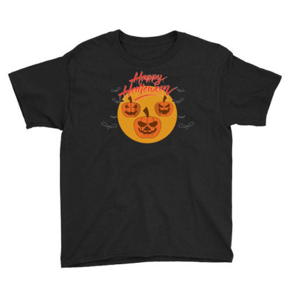 Halloween Pumpkins And Bats On A Big Yellow Moon Youth Tee Designed By Qudkin