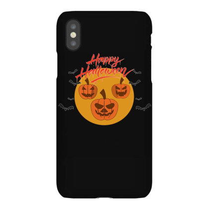 Halloween Pumpkins And Bats On A Big Yellow Moon Iphonex Case Designed By Qudkin