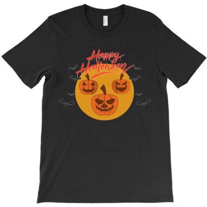 Halloween Pumpkins And Bats On A Big Yellow Moon T-shirt Designed By Qudkin