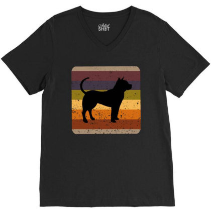 Youth 80s Retro Pit Bull V-neck Tee Designed By Ashlıcar