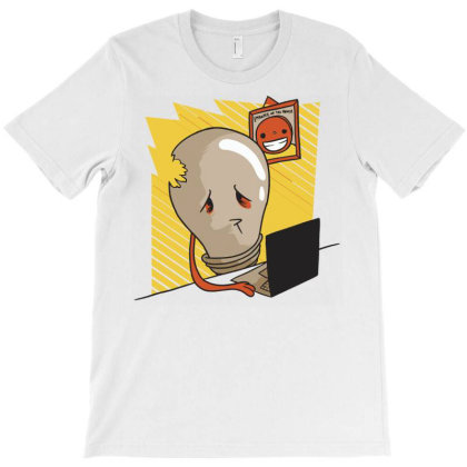 Sad Light Bulb T-shirt Designed By Panduart