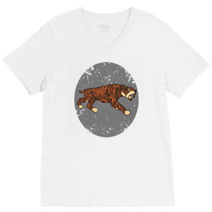 Saber Tooth Tiger Mandala V-neck Tee Designed By Panduart