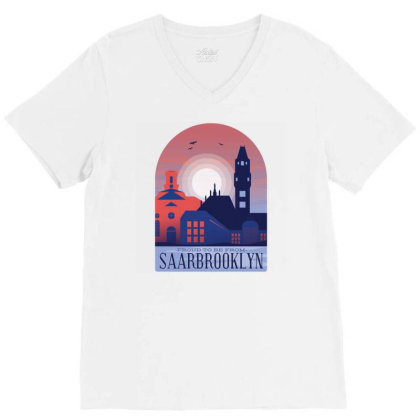 SaarbrÜcken Skyline V-neck Tee Designed By Panduart