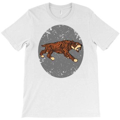Saber Tooth Tiger Mandala T-shirt Designed By Panduart
