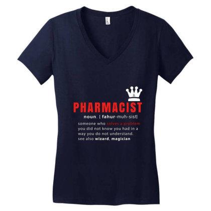 Pharmacist Is Solving Problems Women's V-neck T-shirt Designed By 1y-design
