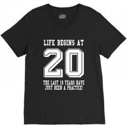20th birthday life begins at 20 white V-Neck Tee | Artistshot
