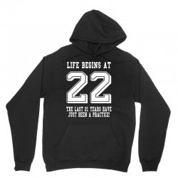 22nd birthday life begins at 22 white Unisex Hoodie | Artistshot