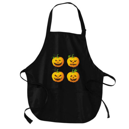 Funny Halloween Pumpkins 2020 Medium-length Apron Designed By Amber Petty