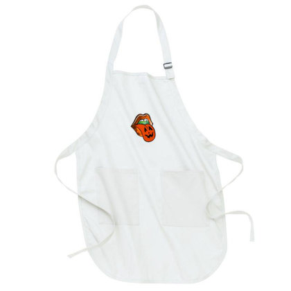 Lips With Tongue Out Pumkin Halloween Full-length Apron Designed By Sengul