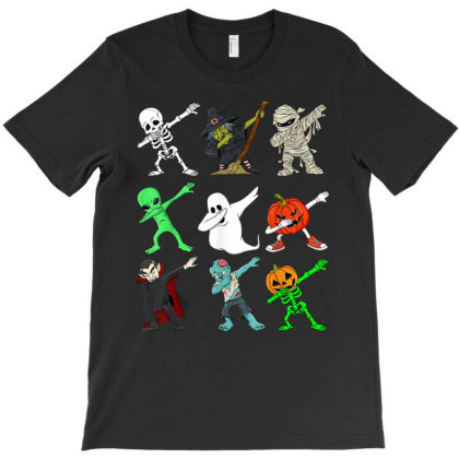Halloween Dabbing Skeleton Witch And Monsters Boys Girl T-shirt Designed By Conco335@gmail.com
