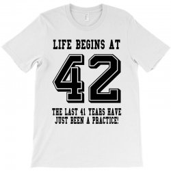 42nd birthday life begins at 42 T-Shirt | Artistshot