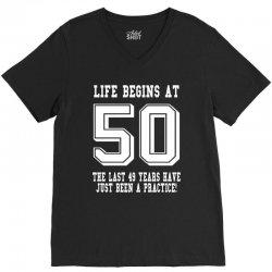 50th birthday life begins at 50 white V-Neck Tee   Artistshot