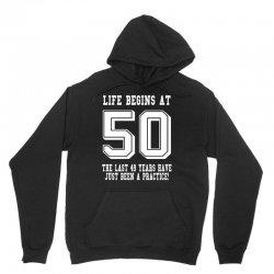 50th birthday life begins at 50 white Unisex Hoodie   Artistshot
