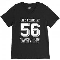 56th birthday life begins at 56 white V-Neck Tee | Artistshot