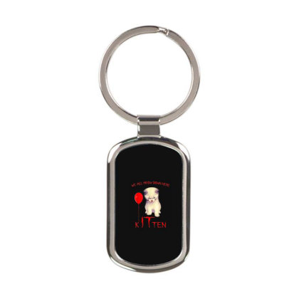 We All Meow Down Here Kitten Clown Rectangle Keychain Designed By Mrt90