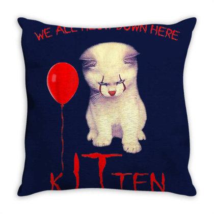 We All Meow Down Here Kitten Clown Throw Pillow Designed By Mrt90
