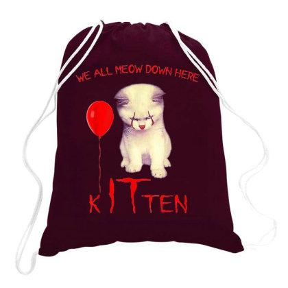 We All Meow Down Here Kitten Clown Drawstring Bags Designed By Mrt90