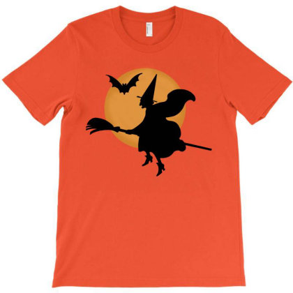 Halloween The Witch And The Bat T-shirt Designed By Lumlum