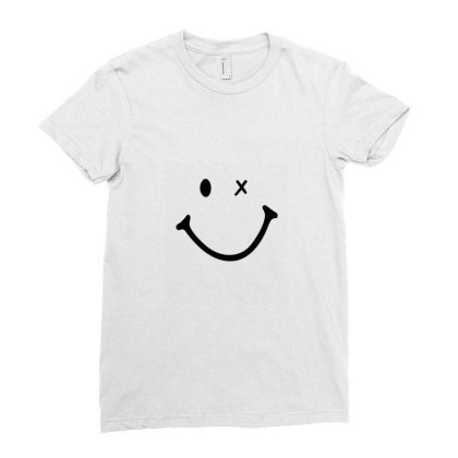 Smiling Face Ladies Fitted T-shirt Designed By Apollo