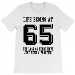 65th birthday life begins at 65 T-Shirt | Artistshot