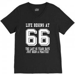 66th birthday life begins at 66 white V-Neck Tee | Artistshot
