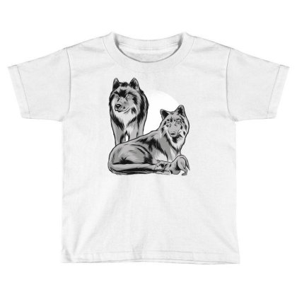 Wolf Family Pack Toddler T-shirt Designed By Panduart