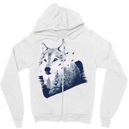 Wolf Forest Zipper Hoodie Designed By Panduart