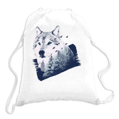 Wolf Forest Drawstring Bags Designed By Panduart