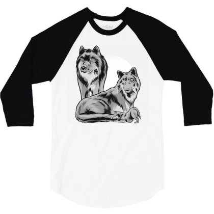 Wolf Family Pack 3/4 Sleeve Shirt Designed By Panduart