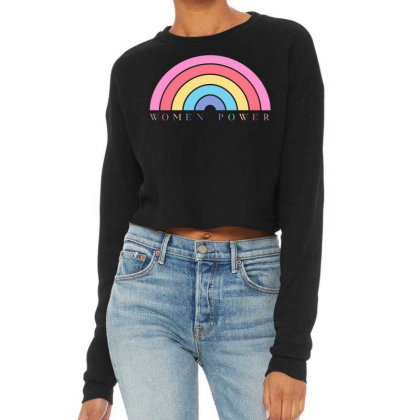 Women Power Rainbow Cropped Sweater