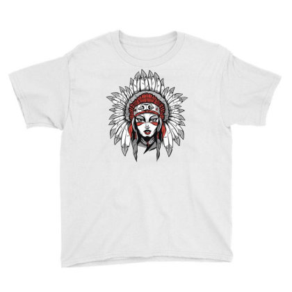 Woman With Headdress Youth Tee Designed By Panduart
