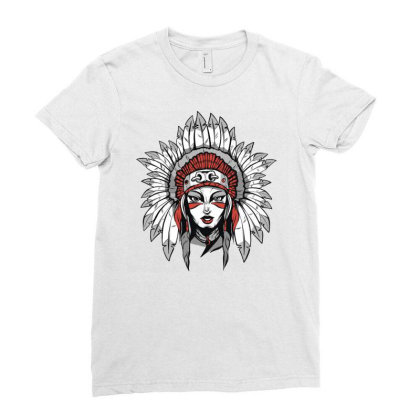 Woman With Headdress Ladies Fitted T-shirt Designed By Panduart