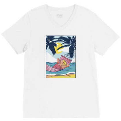 Woman Hammock V-neck Tee Designed By Panduart
