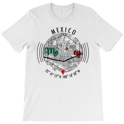 Monterrey Mexico Road Map Art - Earth Tones T-shirt Designed By Artistic Paradigms