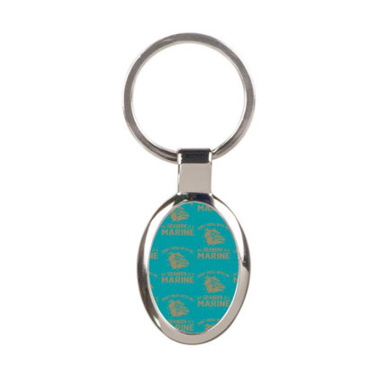 Don't Mess Wiht Me My Grandpa Is A Marine Oval Keychain Designed By Sabriacar