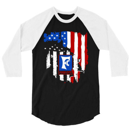 Food City American Flag Independence Day 3/4 Sleeve Shirt Designed By Jasmine Tees