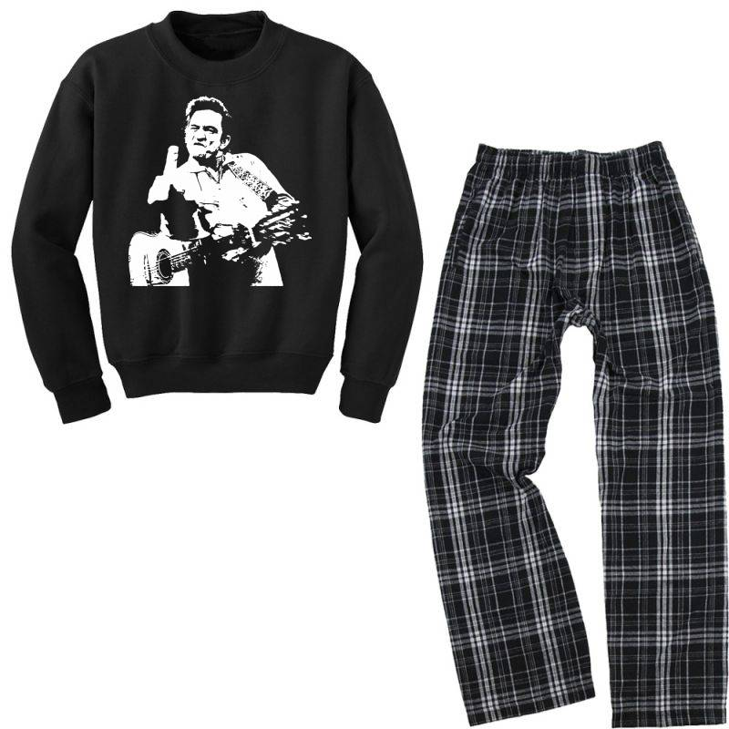 Johnny Cash Middle Finger Youth Sweatshirt Pajama Set | Artistshot