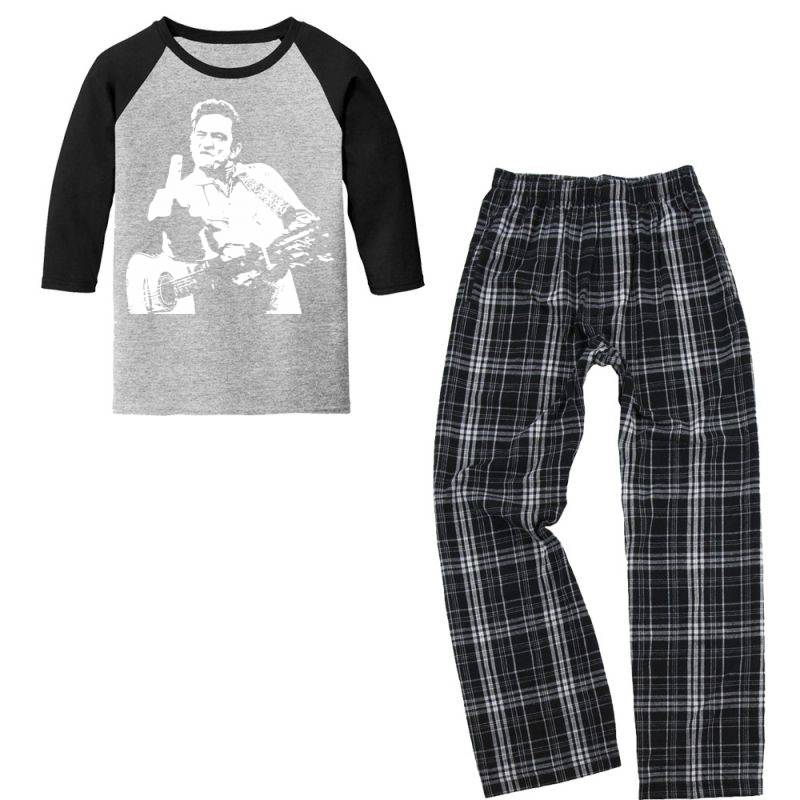 Johnny Cash Middle Finger Youth 3/4 Sleeve Pajama Set | Artistshot
