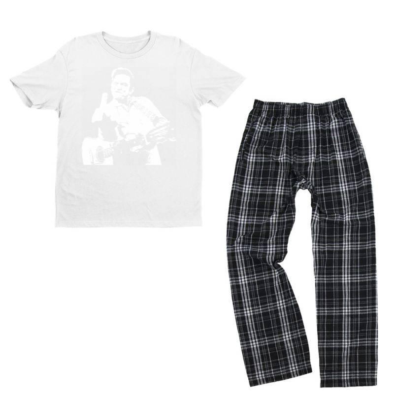 Johnny Cash Middle Finger Youth T-shirt Pajama Set   Artistshot