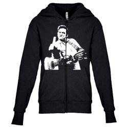 johnny cash middle finger Youth Zipper Hoodie | Artistshot