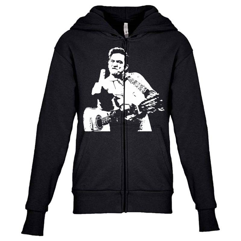 Johnny Cash Middle Finger Youth Zipper Hoodie | Artistshot
