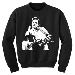 johnny cash middle finger Youth Sweatshirt | Artistshot