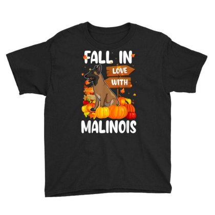 Fall In Love With Malinois Dog On Pumkin Halloween Youth Tee Designed By Koopshawneen