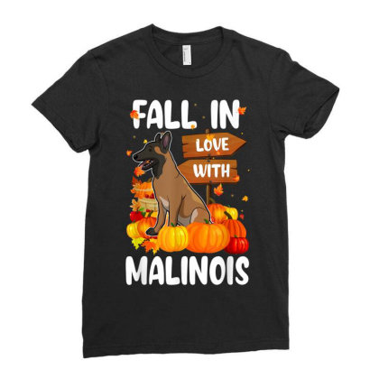 Fall In Love With Malinois Dog On Pumkin Halloween Ladies Fitted T-shirt Designed By Koopshawneen
