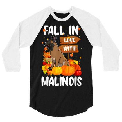 Fall In Love With Malinois Dog On Pumkin Halloween 3/4 Sleeve Shirt Designed By Koopshawneen