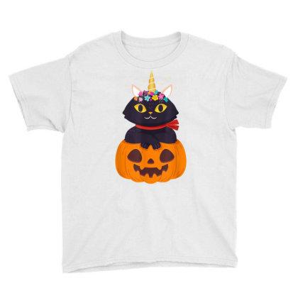 Cute Cat Pumpkin Unicorn Halloween Costume Gift Girls Kids Youth Tee